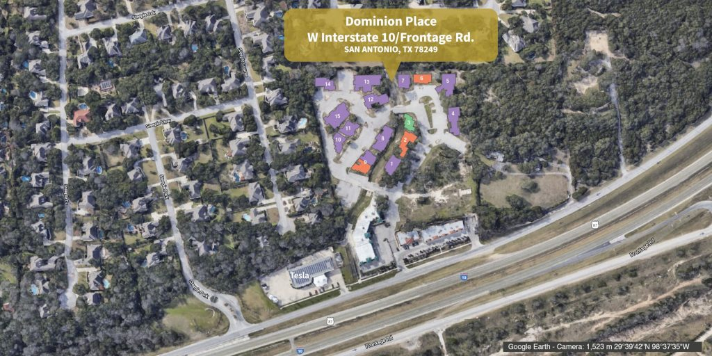 Aerial view of Dominion Place with lot highlights