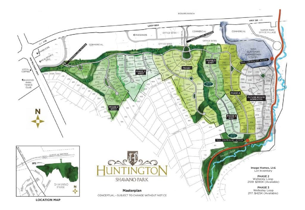Huntington map of available lots
