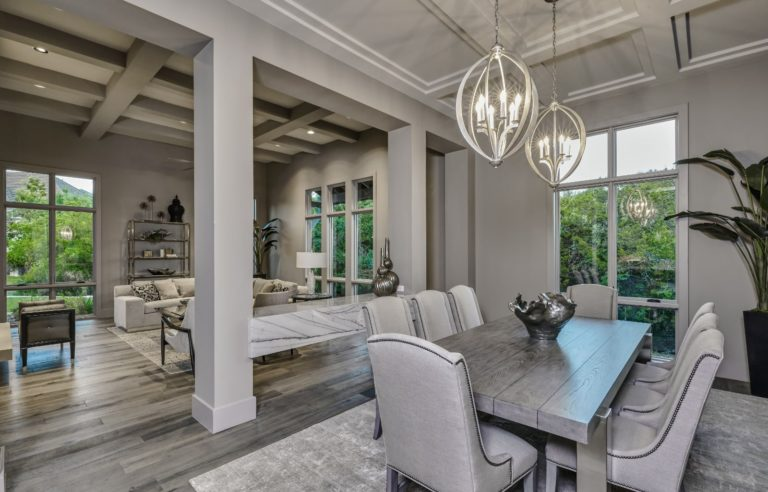 living and dining room with a gray color scheme