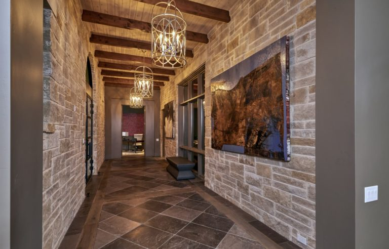 rustic style hallway with photo on wall