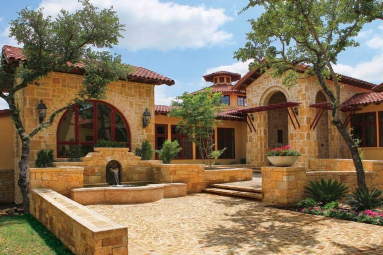 beige limestone house