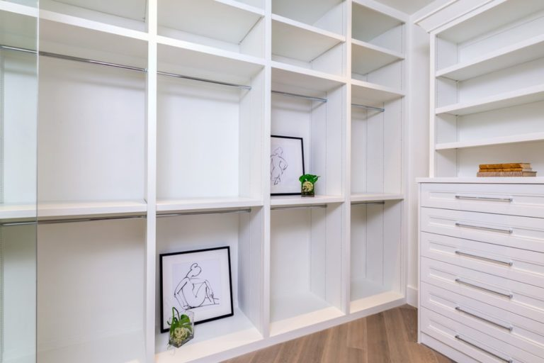 white shelves in a closet