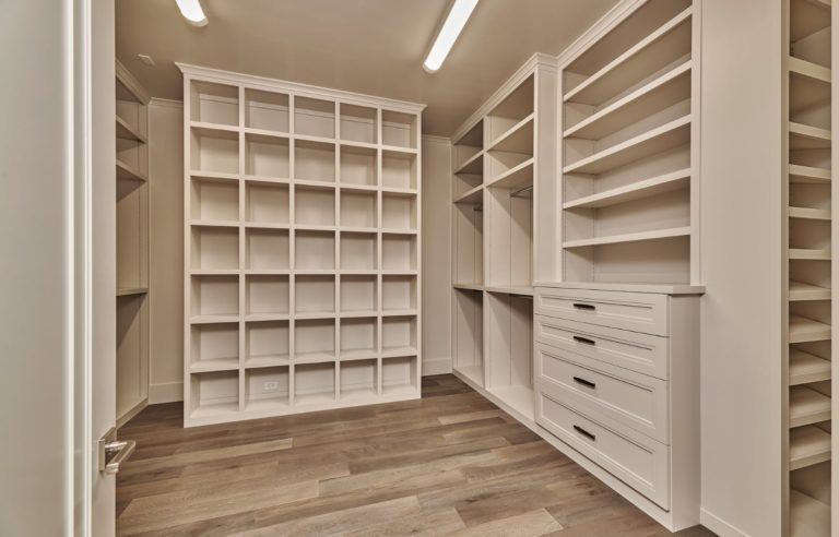 large closet with many shelves
